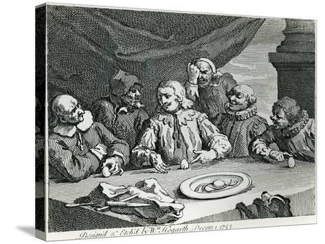 Columbus Breaking the Egg, 1753-William Hogarth-Stretched Canvas Print