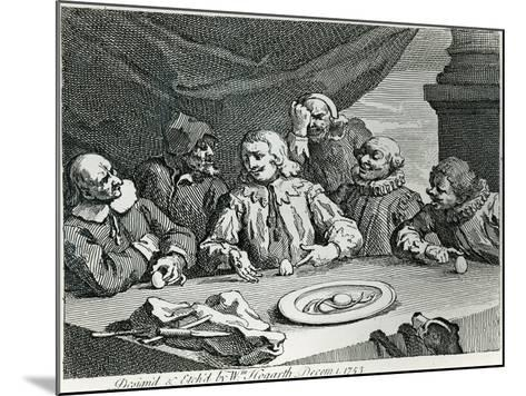 Columbus Breaking the Egg, 1753-William Hogarth-Mounted Giclee Print