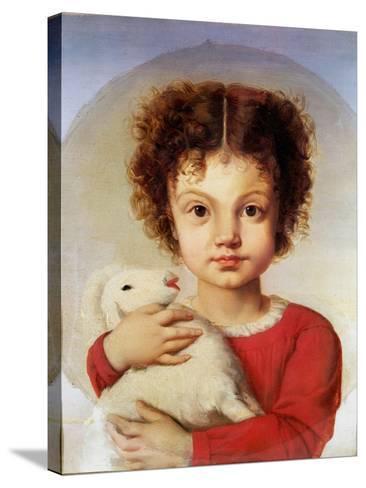 Portrait of the Artist's Daughter, Lina-Luigi Calamatta-Stretched Canvas Print