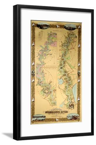 Map Depicting Plantations on the Mississippi River from Natchez to New Orleans, 1858--Framed Art Print