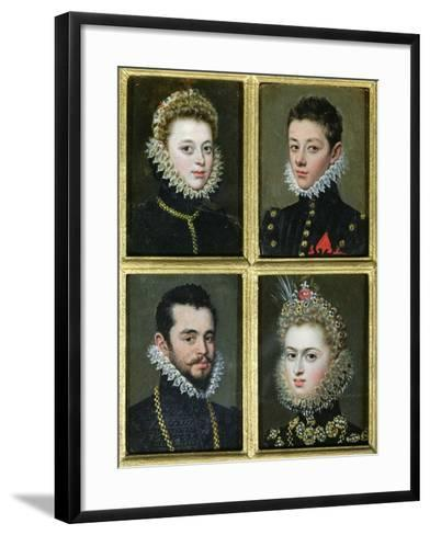 Portrait of Two Men and Two Women-Alonso Sanchez Coello-Framed Art Print