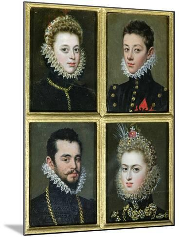 Portrait of Two Men and Two Women-Alonso Sanchez Coello-Mounted Giclee Print