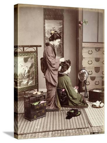 Hairdressing, Japan, circa 1880-Kusakabe Kimbei-Stretched Canvas Print