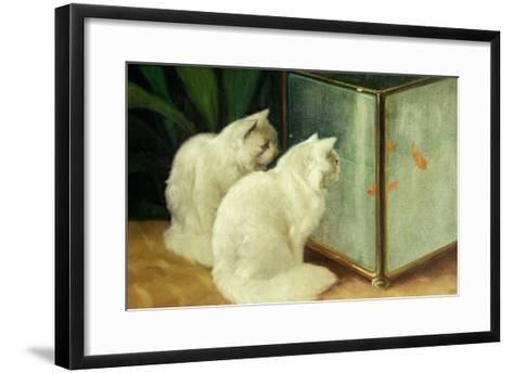 White Cats Watching Goldfish-Arthur Heyer-Framed Art Print