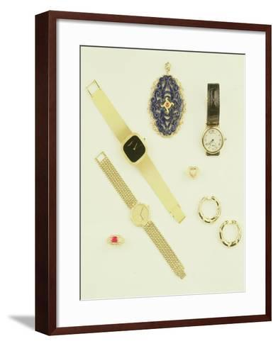 Selection of Jewellery: Sodalite Pendant; Pave-Set Diamond Ring; Creole Earrings by Cartier--Framed Art Print
