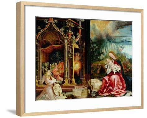 Nativity and Concert of Angels from the Isenheim Altarpiece, Central Panel-Matthias Gr?newald-Framed Art Print