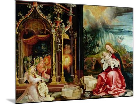Nativity and Concert of Angels from the Isenheim Altarpiece, Central Panel-Matthias Gr?newald-Mounted Giclee Print