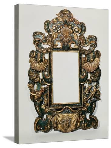 Roman 17th C. Carved Black and Gilt Baroque Frame with Pierced Band of Profuse Scrolling Strapwork--Stretched Canvas Print