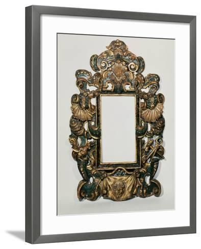 Roman 17th C. Carved Black and Gilt Baroque Frame with Pierced Band of Profuse Scrolling Strapwork--Framed Art Print