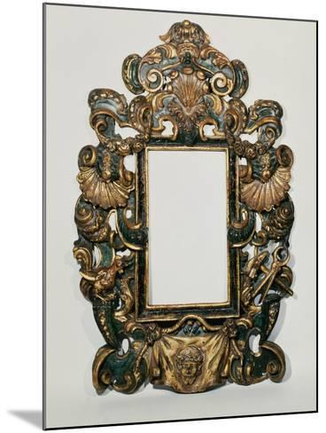 Roman 17th C. Carved Black and Gilt Baroque Frame with Pierced Band of Profuse Scrolling Strapwork--Mounted Giclee Print