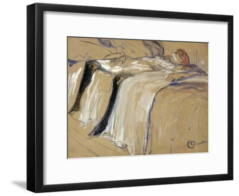 "Woman Lying on Her Back - Lassitude, Study for ""Elles"", 1896-Henri de Toulouse-Lautrec-Framed Art Print"