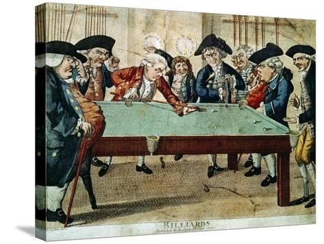 Billiards, 18th Century Etching by R.Sayer--Stretched Canvas Print