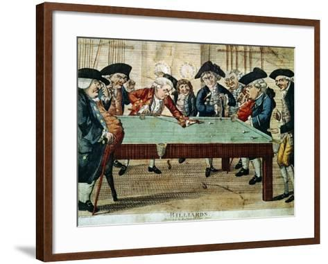 Billiards, 18th Century Etching by R.Sayer--Framed Art Print
