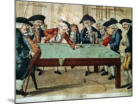 Billiards, 18th Century Etching by R.Sayer--Mounted Giclee Print