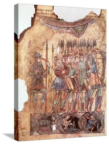 "Foot Soldiers in the Crusades, from ""La Vie de Saint Aubin D'Angers""--Stretched Canvas Print"