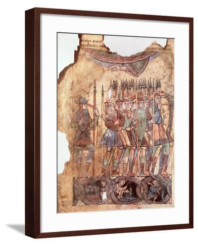 "Foot Soldiers in the Crusades, from ""La Vie de Saint Aubin D'Angers""--Framed Art Print"