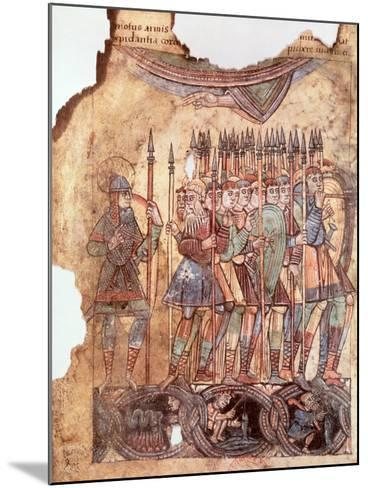 "Foot Soldiers in the Crusades, from ""La Vie de Saint Aubin D'Angers""--Mounted Giclee Print"