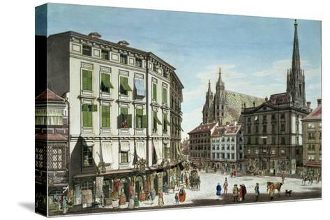 Stock-Im-Eisen-Platz, with St. Stephan's Cathedral in the Background, Engraved by the Artist, 1779-Karl Von Schutz-Stretched Canvas Print