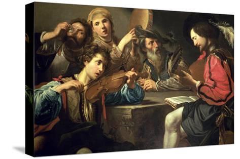 A Musical Gathering-Valentin de Boulogne-Stretched Canvas Print