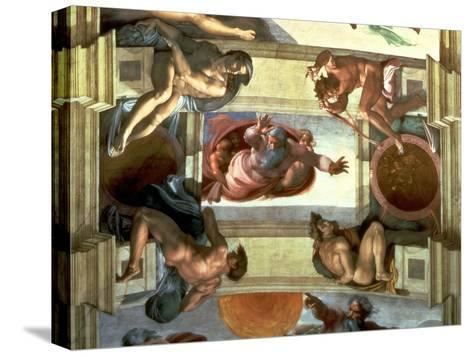 Sistine Chapel Ceiling: God Separating the Land from the Sea, with Four Ignudi, 1510-Michelangelo Buonarroti-Stretched Canvas Print