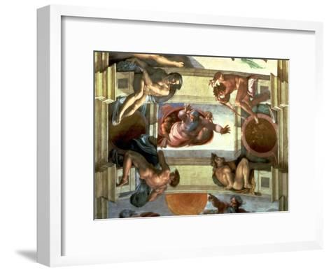 Sistine Chapel Ceiling: God Separating the Land from the Sea, with Four Ignudi, 1510-Michelangelo Buonarroti-Framed Art Print