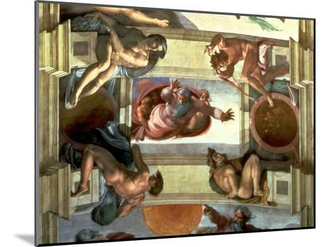 Sistine Chapel Ceiling: God Separating the Land from the Sea, with Four Ignudi, 1510-Michelangelo Buonarroti-Mounted Giclee Print