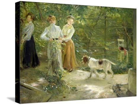 View of the Artist's Garden with His Daughters, 1903-Fritz von Uhde-Stretched Canvas Print