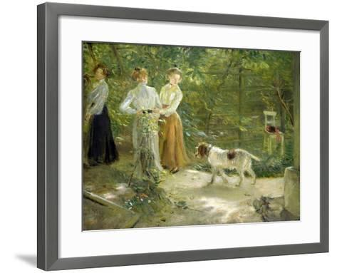 View of the Artist's Garden with His Daughters, 1903-Fritz von Uhde-Framed Art Print