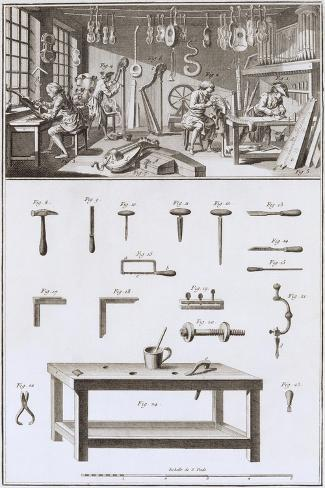 Plate XVIII: the Instrument Maker's Workshop and Tools-Robert Benard-Stretched Canvas Print