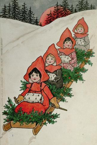 Four Little Girls on a Sledge-Florence Hardy-Stretched Canvas Print