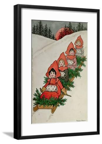 Four Little Girls on a Sledge-Florence Hardy-Framed Art Print