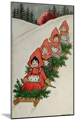 Four Little Girls on a Sledge-Florence Hardy-Mounted Giclee Print