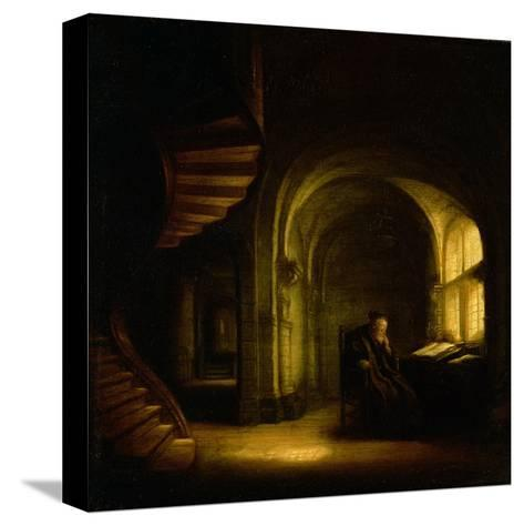 Philosopher with an Open Book, 1625-7-Rembrandt van Rijn-Stretched Canvas Print