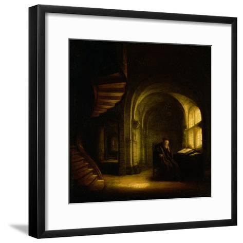Philosopher with an Open Book, 1625-7-Rembrandt van Rijn-Framed Art Print