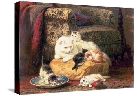 Cat with Her Kittens on a Cushion-Henriette Ronner-Knip-Stretched Canvas Print