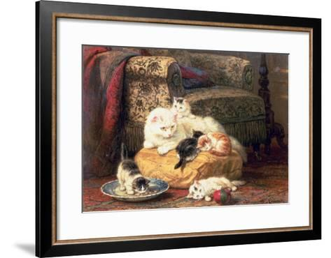 Cat with Her Kittens on a Cushion-Henriette Ronner-Knip-Framed Art Print