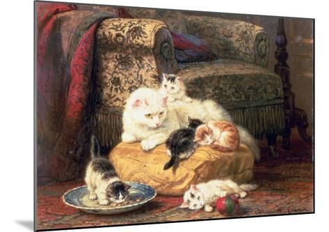 Cat with Her Kittens on a Cushion-Henriette Ronner-Knip-Mounted Giclee Print