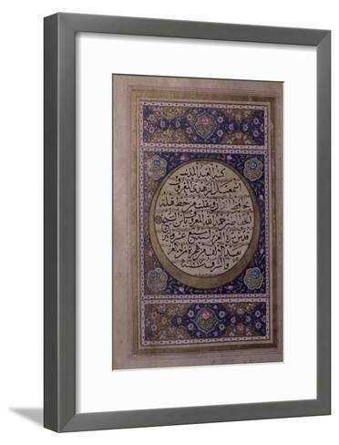 Page of Naskhi Script of the Quran Written by Ismail Al-Zuhdi with Floral Illuminations--Framed Art Print