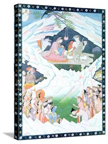The Holy Family of Shiva and Parvati on Mount Kailash--Stretched Canvas Print