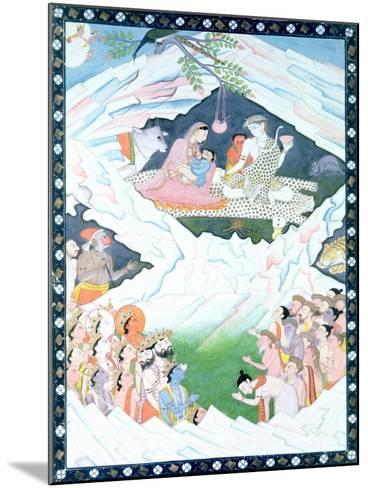 The Holy Family of Shiva and Parvati on Mount Kailash--Mounted Giclee Print