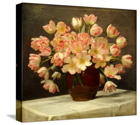 Tulips in a Vase on a Draped Table-Peter Johan Schou-Stretched Canvas Print