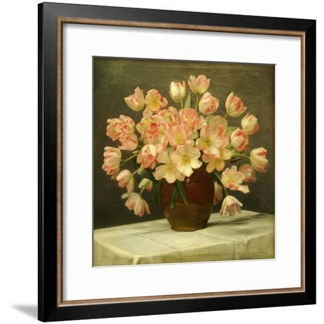 Tulips in a Vase on a Draped Table-Peter Johan Schou-Framed Art Print