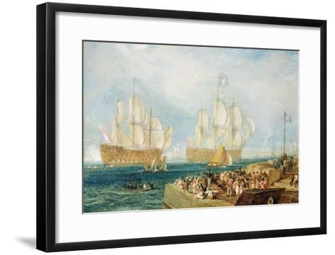 Plymouth Harbour: Towing In-J^ M^ W^ Turner-Framed Art Print