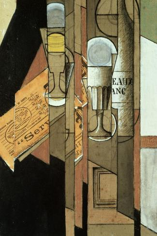 Glasses, a Newspaper and a Bottle of Wine-Juan Gris-Stretched Canvas Print