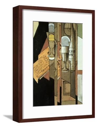Glasses, a Newspaper and a Bottle of Wine-Juan Gris-Framed Art Print