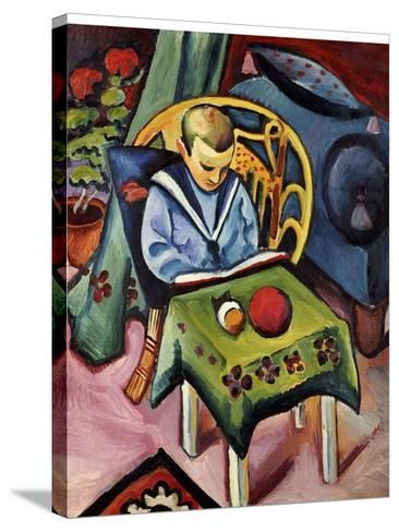 A Young Boy with Books and Toys-Auguste Macke-Stretched Canvas Print