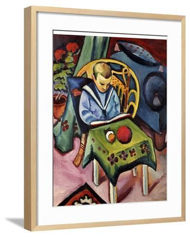 A Young Boy with Books and Toys-Auguste Macke-Framed Art Print