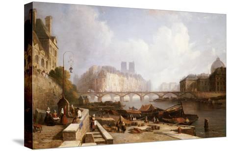 View of Ile De La Cite, Paris, from the Quai Du Louvre with the Pont Des Arts and the Pont Neuf-Caleb Robert Stanley-Stretched Canvas Print