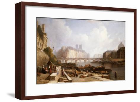 View of Ile De La Cite, Paris, from the Quai Du Louvre with the Pont Des Arts and the Pont Neuf-Caleb Robert Stanley-Framed Art Print