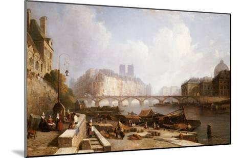 View of Ile De La Cite, Paris, from the Quai Du Louvre with the Pont Des Arts and the Pont Neuf-Caleb Robert Stanley-Mounted Giclee Print
